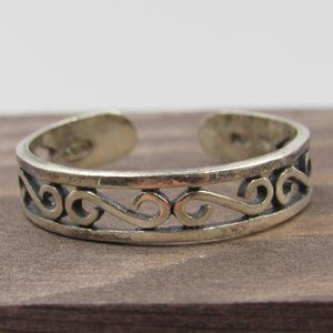 Size 10 Sterling Silver Swirly Open Band Ring